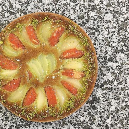 Tarte poire pamplemousse pistache